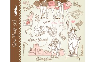 hand drawn New York clipart doodles