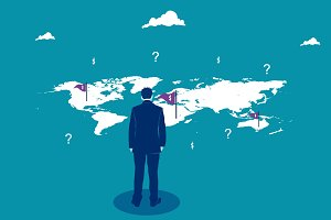 Businessman looking on the world map