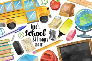 Watercolor School Supplies Clipart