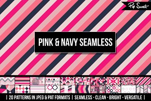 Pink & Navy Seamless 20 Pattern Set