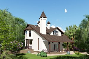 3D visualization. Cottage.