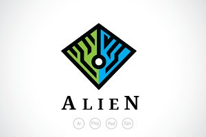Alien Pyramid Logo Template