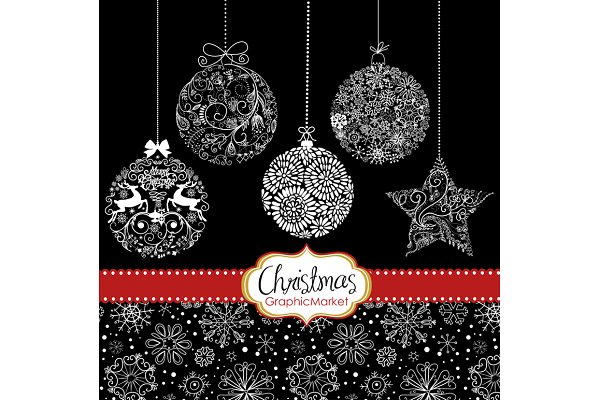 Christmas silhouettes ornaments bal…