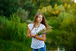 Teen Girl boho with flowers
