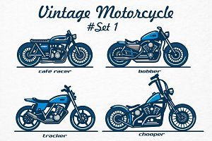Vintage Motorcycle / logo #set 1