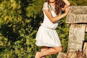 Lovely girl barefoot.