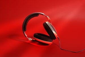 headphones on red background