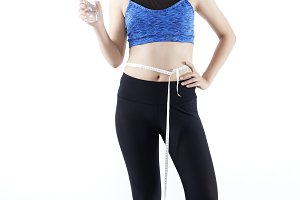 Asian girl beauty measuring line with weight loss