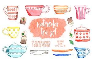 Watercolor tea cups set