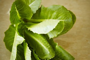 Cos romaine lettuce on a granite table