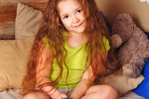 Girl with long curly hair