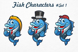Fish Characters /Logo/Templete Set#1