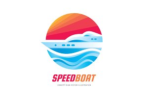 Speed Boat - Vector Logo Sign