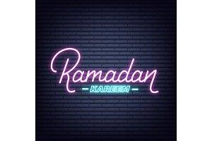 Ramadan Kareem neon design. Illuminated lettering signboard for Ramadan