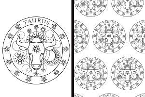Taurus Sign + Seamless Pattern