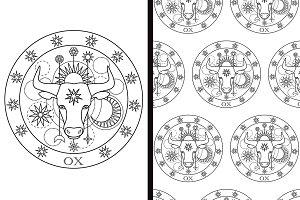 Ox Sign + Seamless Pattern