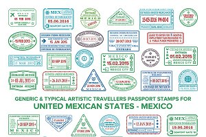 Mexico passport visa stamps set