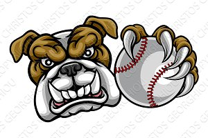 Bulldog Dog Holding Baseball Ball Sports Mascot
