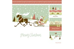 4 Christmas cards, houses, reindeer