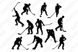 Silhouette Hockey Players