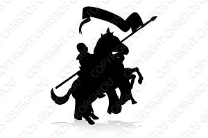 Medieval Knight on Horse Silhouette