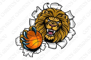 Lion Holding Basketball Ball Breaking Background