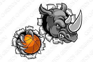 Rhino Holding Basketball Ball Breaking Background