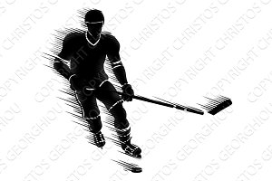 Silhouette Ice Hockey Player Concept