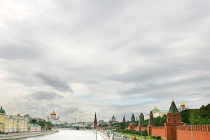 Moscow city on the river bank