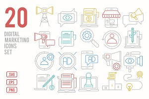 Digital marketing line icons set