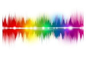Colorful music sound waves