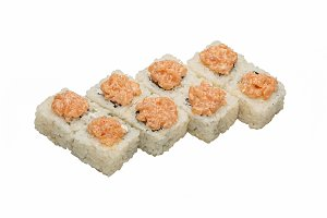 Rolls with nori and pink cheese.