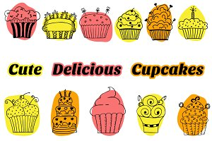 Cute cupcakes vector set