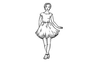 Young woman in dress engraving vector illustration