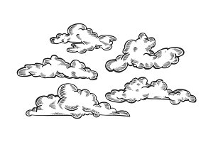 Clouds engraving vector illustration
