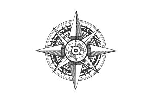 Medieval wind rose engraving vector illustration
