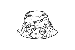 Fisherman hat engraving vector illustration