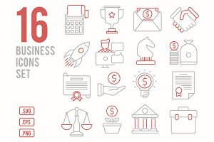 16 Business line icons set