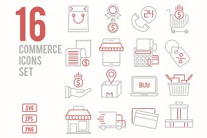 16 Commerce line icons set