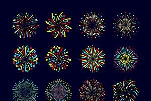 Party firework icon flat set
