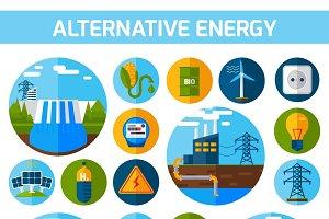 Alternative energy icons flat set