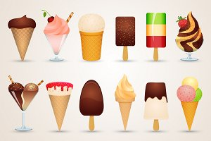 Ice cream cartoon icons set