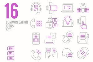 Communication line icons set