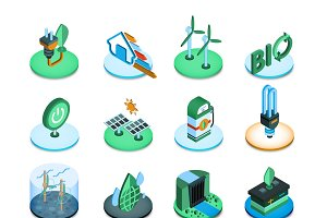 Green energy isometric icons set