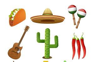Mexican culture flat icons set