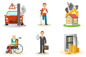 Insurance and risk insured icons set
