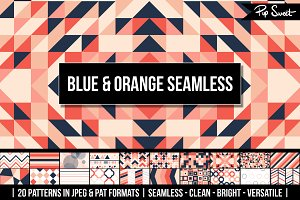 20 Blue Orange Seamless Pattern Set