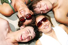 Four young friends enjoying summer