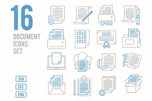 Document line icons set