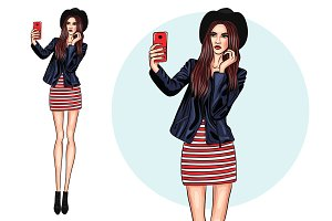 Fashion girl making selfie #4